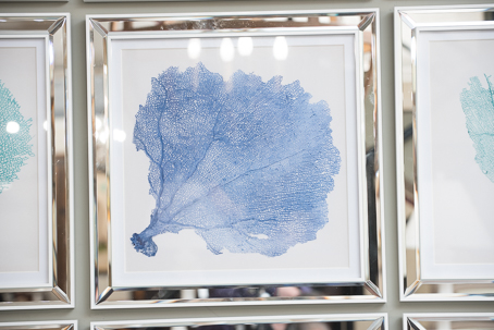 C13:0141-3 Blue Coral Print in white mirrored frame