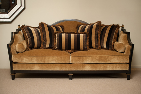 High Quality C7:6004 01SW 921 212BF Faux Rachet Sofa In Gold Velvet, Black Frame And  Striped Cushions